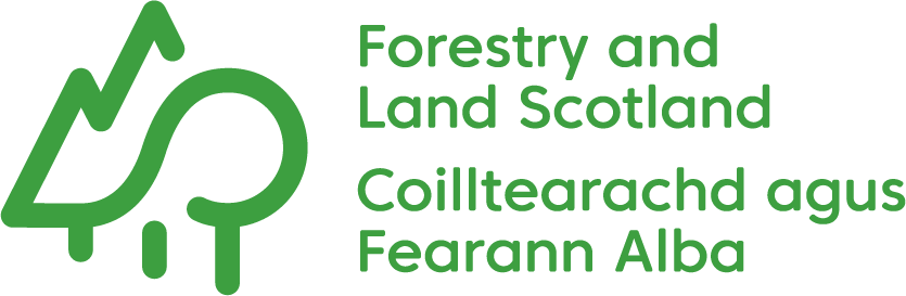The logo shows a one line drawing of trees next to text which says 'Forestry and Land Scotland' and also in Gaelic 'Coilltearachd agus Fearann Alba'